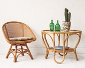 Bamboo + Glass Rattan Table