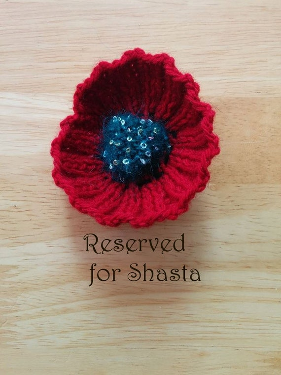 Knitting Pattern For Anzac Poppies : RESERVED Knitted Poppy Brooch: Anzac/Remembrance Day Poppy