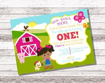 Girl's Farm Birthday Invitation   1st 2nd Any Age Birthday   Farm Theme Birthday   Girl Birthday Invite   Farm Party   Digital Invite