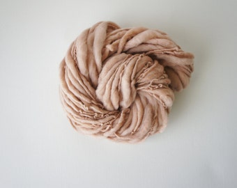 SALE: Thick and Thin Slub Yarn Handspun Light Beige Merino Wool