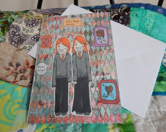 Chibi Harry Potter Fred and George greetings card A6