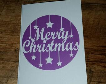 Printed purple Merry Christmas cards