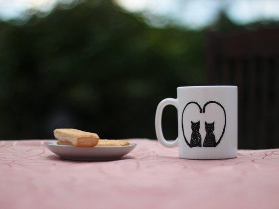 Cute Cat Mug, Ceramic Cat Mug, Hand Painted Cat Mug, Cat Lover Gift, Kitty Mug, Crazy Cat Lady, Black Cat Mug, OOAK Mug