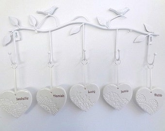 Family wall hanging. Ceramic hearts with names. Ceramic wall hanging. Bird wall hanging. Family tree.