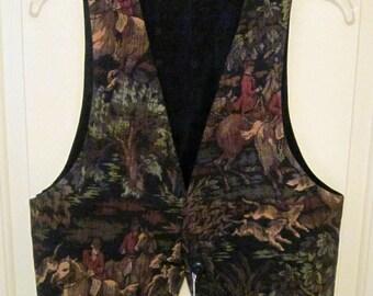 Equestrian Tapestry vests - multi-color hunt scene on black background