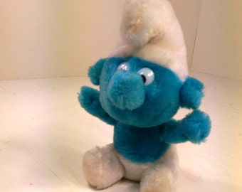 Early Vintage 1980 Smaller Smurf Bean Bag Plush Collectible Peyo Schleich Wallace Berrie Smurfs Stuffed Toy