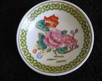 "Floral Trinket Dish Vintage 3 3/4"" Vintage Collectible CL9-19"
