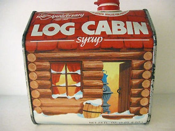 Log cabin syrup th annivarsary can vintage collectible
