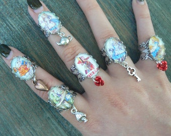 Alice rings Alice charm rings ONE Alice midi ring Alice in Wonderland Alice jewelry Fantasy Queen of Hearts cosplay Animee boho hipster