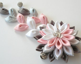 Kanzashi Fabric Flower hair clip with falls.  Pink kanzashi hair clip. Japanese hair flower. Geisha's hair piece.
