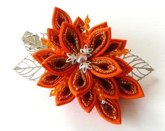 Kanzashi fabric flower hair clip,Orange kanzashi,Orange flower hair clip,Japanese hair piece,Oriental hair clip