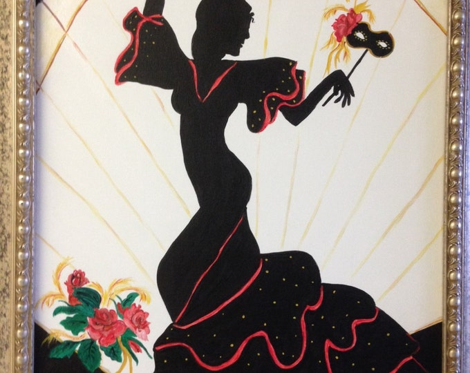 Flamenco Dancer in Silhouette - 16 x 20 acrylic painting on canvas in a 20 x 24 wood frame