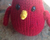 Hand knit plush bird red