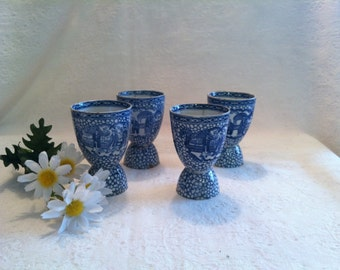 Set of 4 Circa 1910-1920 William Adams England Blue Transfer Double Egg Cups in Chinese Bird Pattern