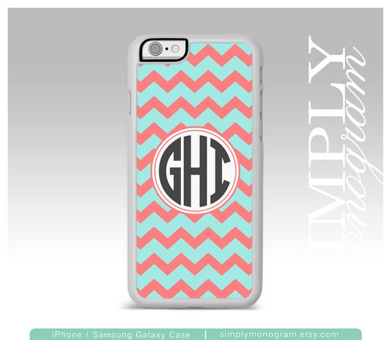 iPhone 6 Case Samsung Galaxy s6 Case iPhone 5 Case iPhone 5s Case iPhone 5c Case Samsung Galaxy Case - blue and coral chevron monogram