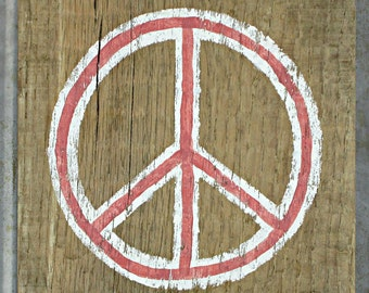 Peace Sign - Small Rustic Wooden Peace Sign - Reclaimed Wood Hand Painted Peace Symbol