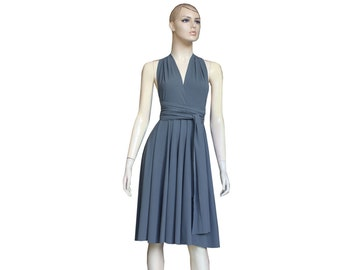 Twist Wrap Dress Convertible Gray Short Infinity Bridesmaid Gown Prom Wedding Knee Length Dress XS-5XL