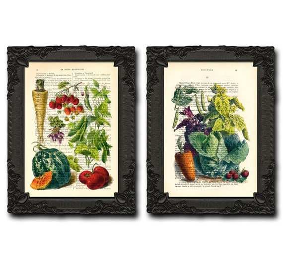 Poster Kitchen Fruits And Vegetables Rustic Kitchen Decor