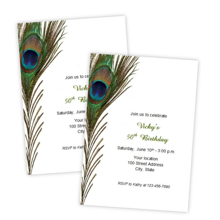 Peacock Feather Birthday Invitations Bridal Shower Wedding