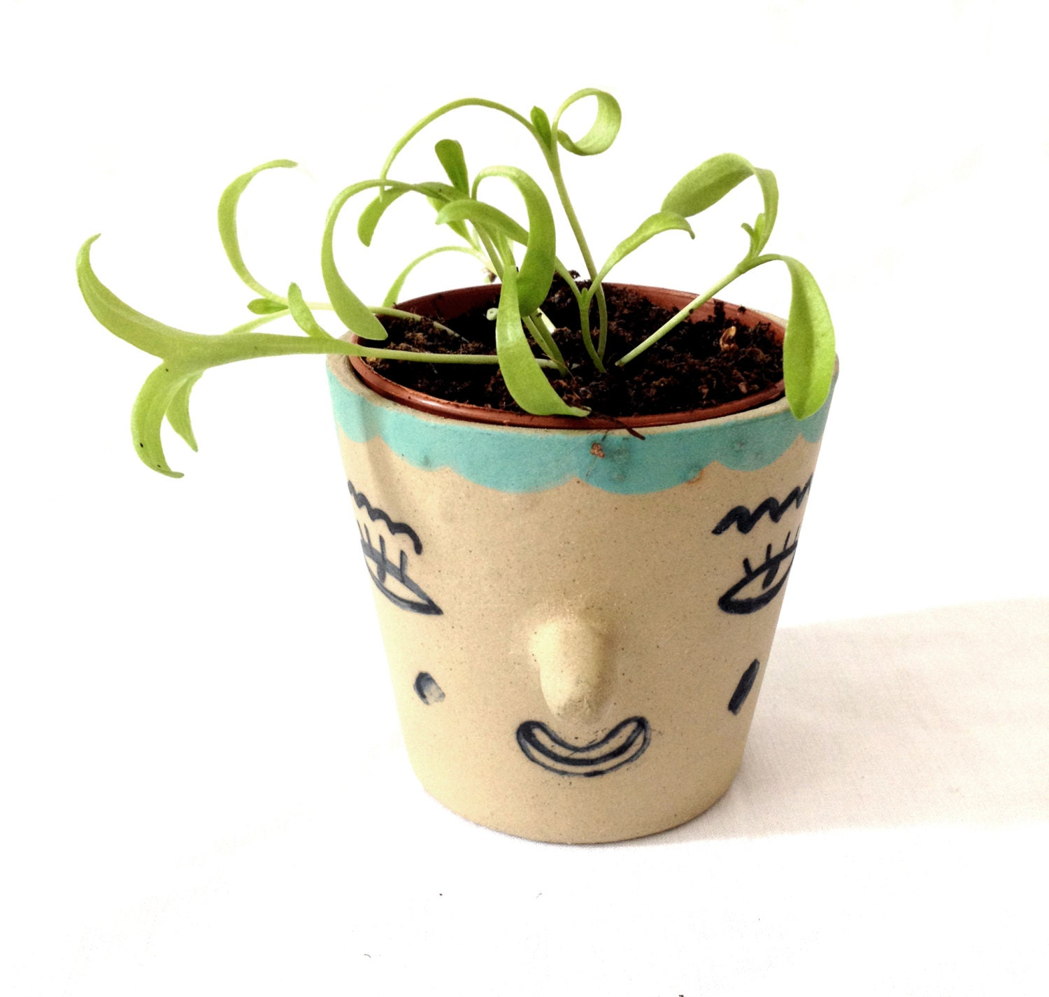 Plant Pot Face By Lauralaurabird On Etsy