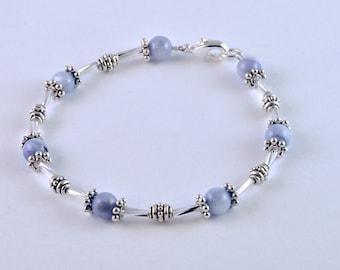 April – Blue/Lavender Beaded Bracelet with Glass Bugle Beads