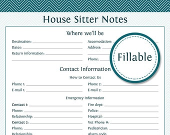 House Sitter Notes - Fillable - Printable PDF - Instant Download - Household Binder