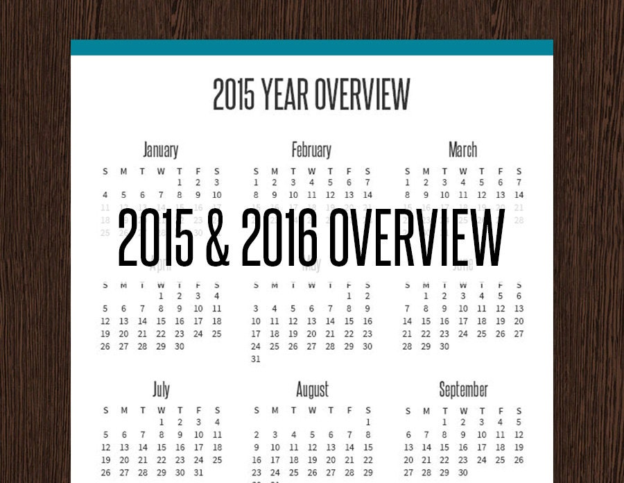 Year Calendar Overview : Year overview for yearly calendar printable