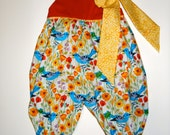 Girls Romper with detachable bow handmade in Organic Cotton, Sizes 6 Mos. - 4T