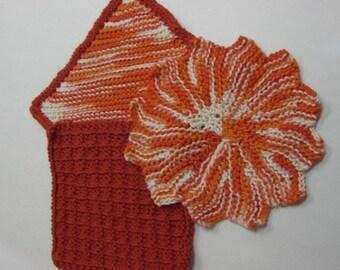 Orange Burst Hand Knit Dish Cloth Set