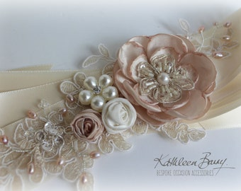 R750 Wedding dress sash belt - floral with lace - Blush pink