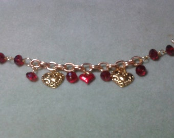Gold heart shaped bracelet
