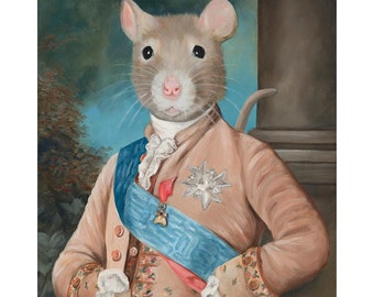 Pet Rat Prints, Sir Walter Ratleigh Vintage Rat Art, Rat in Costume