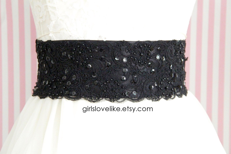 black beaded alencon lace sash belt bridal sash bridesmaid