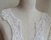 off white Lace Collar, ivory Cotton Doily Applique, crochet lace collar applique