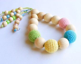 Teething toy, baby rattle, crochet wooden beads, natural teether, wooden teething ring, developmental toy, pink blue yellow green