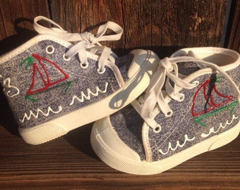 VTG Pitter Patter Baby Shoes Sail Boat Sun Sz 2