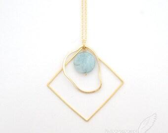 Geometric, Sky Blue Smooth Round Blue Quartz, Double Links, Necklace
