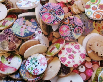 Wooden Buttons Assortment, Wholesale Lot of Buttons For Sewing, Scrapbooking and Arts & Crafts!