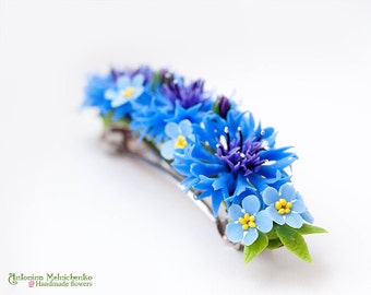 Barrette Cornflower & Forget-me-not - Polymer Clay Flowers