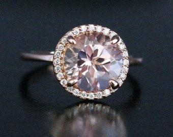 DISCOUNTED PRICES LIMITED Time Pink Morganite Engagement Ring in 14k Rose Gold Morganite Round 9mm and Diamond Ring