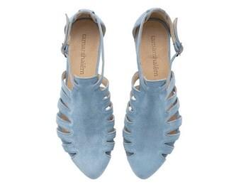 light blue sandals, Alice, Flats, Leather Sandals , Handmade, Flat Sandals by tamar shalem on etsy