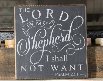 wooden sign, the Lord is my shepherd, I shall not want, Psalm 23, subway art, wall decor, shabby chic, home and living, kitchen decor, faith