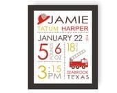 Fireman Nursery Birth Stats - CHOOSE COLORS - Fire Truck Decor, Birth Announcement, Custom Birth Print, Fire Engine, Baby Shower Present