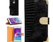 Samsung Galaxy Note 4 Case Bling Rhinestone Crystal Lizard Print PU Leather TPU Bumper Flip Wallet Cover Case Black