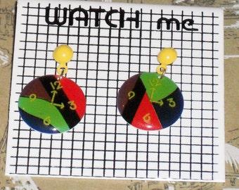 1980s Unworn Watch Me clock Earrings (pierced) (3591)