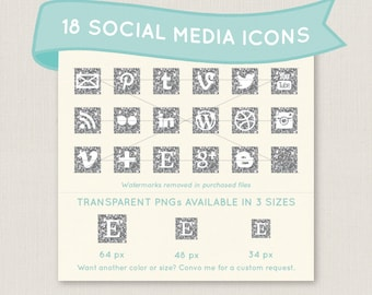 Sparkly Silver Glitter Social Media Icon Set - 18 unique and pretty icons to use for your blog, website, or portfolio. In multiple sizes!
