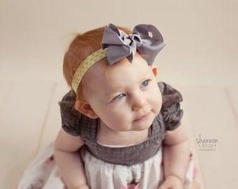 Baby Bow Headband.Newborn Headband.Baby Girl Headband.Yellow Headband.Infant Headband.Baby Bows.Baby Headbands.Grey Bow Headband.Yellow.Grey