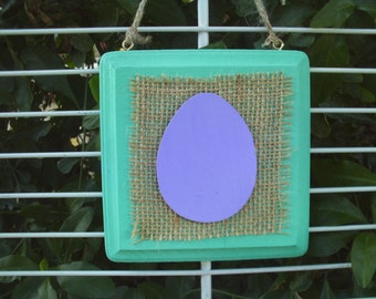 Easter Egg Square Wall Hanging Plaque Purple/Ocean Breeze Green