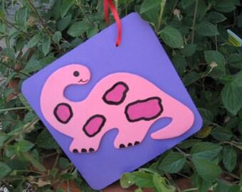 Wood Pink Dinosaur Ornament or Wall Hanging