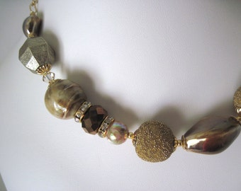 Beige and gold chunky necklace,  bling, big, bold  great summer jewelry.